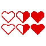 Corações vermelhos feitos dos pixéis Imagens de Stock