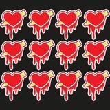 Corações vermelhos grandes do amor do feriado do dia do ` s do Valentim, ilustração do vetor Foto de Stock Royalty Free