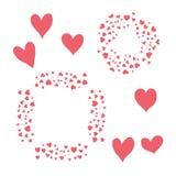 Corações vermelhos isolados no branco Imagem de Stock
