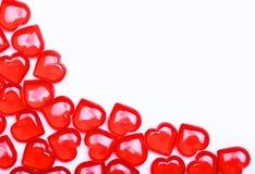 Corações vermelhos isolados no fundo branco com espaço para o texto. Fotografia de Stock Royalty Free