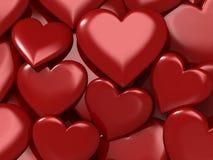Corações vermelhos lustrosos Fotos de Stock Royalty Free