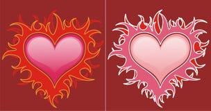 Corações vermelhos nas flamas ilustração stock