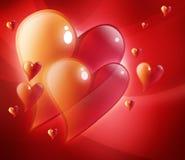 Corações vermelhos no amor Fotos de Stock