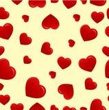Corações vermelhos no fundo do biege Fotos de Stock