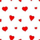 Corações vermelhos no teste padrão sem emenda do fundo branco Fotos de Stock Royalty Free
