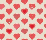 Corações vermelhos sem emenda teste padrão, conceito do dia de Valentim Fotos de Stock Royalty Free