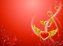 Corações voados de voo do amor Imagem de Stock