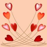 Corações volumétricos em balões das cordas Imagens de Stock Royalty Free