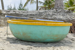 A coracle on the beach in Hoi An, Vietnam Stock Image