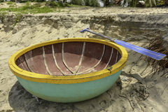 A coracle on the beach in Hoi An, Vietnam Royalty Free Stock Photography