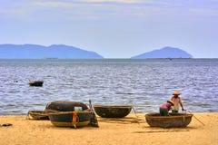 Coracle vissersboten Stock Fotografie