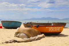 Coracles on An Bang Beach, Hoi An, Vietnam Royalty Free Stock Photography