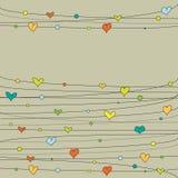 Corações coloridos do Doodle Fotografia de Stock