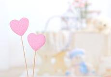Corações cor-de-rosa do algodão Fotografia de Stock