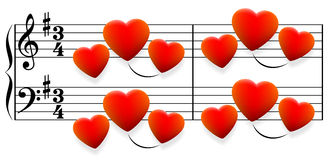 Corações da música de amor Fotografia de Stock Royalty Free