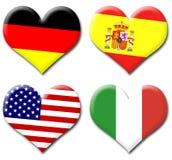 Corações das bandeiras Foto de Stock Royalty Free