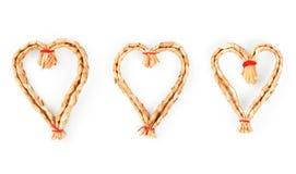 Corações decorativos strawy do Natal Imagens de Stock