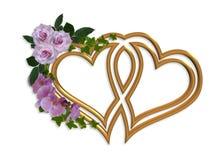 Corações do ouro do convite do casamento Fotografia de Stock