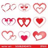 Corações dobro ajustados Imagens de Stock