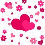 Corações e flores Imagens de Stock