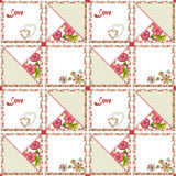 Corações e flores sem emenda do teste padrão dos retalhos Fotografia de Stock Royalty Free