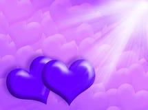 Corações e luz Fotografia de Stock Royalty Free