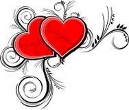 Corações e ornamento florais Fotos de Stock