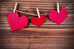 Corações em uma linha, conceptual Fotografia de Stock Royalty Free