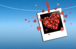 Corações na foto Imagem de Stock