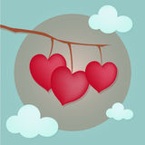 Corações na árvore Fotos de Stock