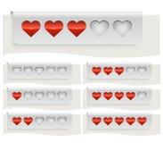 Corações vermelhos que avaliam a barra de estado Foto de Stock Royalty Free