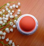 Coral blush. With spring flowers Stock Images