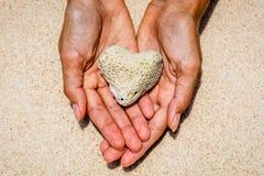 Corail en forme de coeur dans des mains, île de Boracay, Philippines Image stock