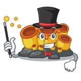 Corail orange d'éponge de magicien dans la mascotte de forme illustration libre de droits