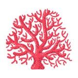 Corail rouge de fan, icône tropicale de Marine Invertebrate Animal Isolated Vector de récif illustration de vecteur