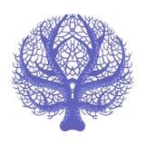 Corail symétrique bleu de fan, récif tropical Marine Invertebrate Animal Vector Icon illustration libre de droits