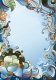 Coral abstrato no fundo azul Foto de Stock Royalty Free