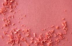Coral background with small crumbs. stock photography