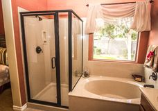 Coral Bathroom With Shower And Tub royalty free stock photography