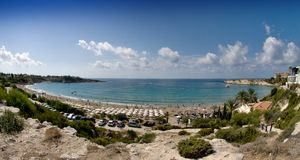 Coral bay beach in cyprus island Royalty Free Stock Images