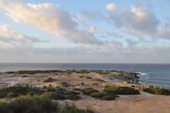The beautiful Coral Bay Beach Pafos in Cyprus stock photos