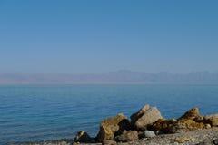 Coral beach, Red Sea. Coral beach on Sinai with beautiful view on Saudi Arabia, Sinai Stock Photo