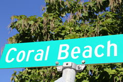 Coral Beach Resort street sign. Coral Beach signs are popular at beach resorts. This sign shows blue and white graphics royalty free stock images