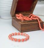 Coral beaded bracelet Stock Photo