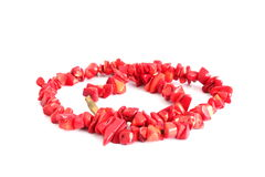Coral beads over white Stock Images