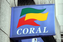 Coral betting shop advertising sign Royalty Free Stock Image