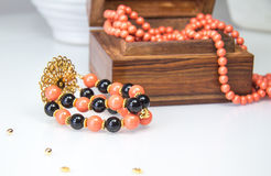 Coral and black beaded bracelet Stock Image