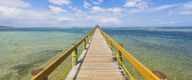 Coral Coast Jetty 1. The Coral Coast of Fiji, to get to deep blue you need to clear this coastal reef via this jetty Stock Photos