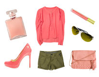 Coral female women clothes set collage isolated. Royalty Free Stock Image
