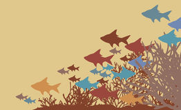 Coral fish. Vector illustration of fish and coral silhouettes Royalty Free Stock Image
